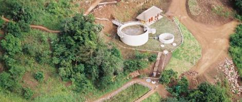 Ariel view of the leachate treatment facility with artifical wetland